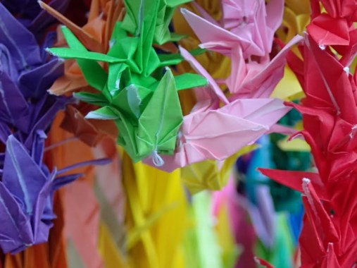 Thousands of paper cranes adorn the Children's Peace Monument